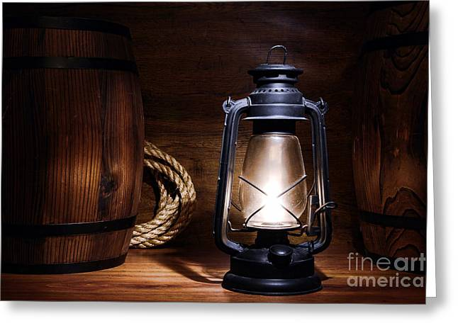 Old Kerosene Lantern Greeting Card by Olivier Le Queinec