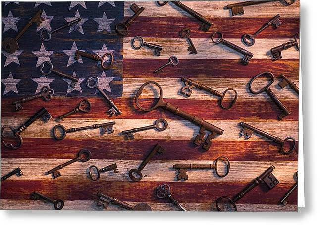 Old Keys On American Flag Greeting Card by Garry Gay
