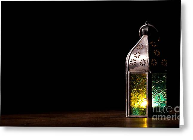 Old Lantern With Candle Greeting Card by Simon Bratt Photography LRPS
