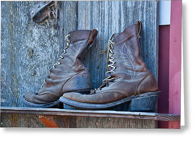 Old Leather Boots Still Life Greeting Card