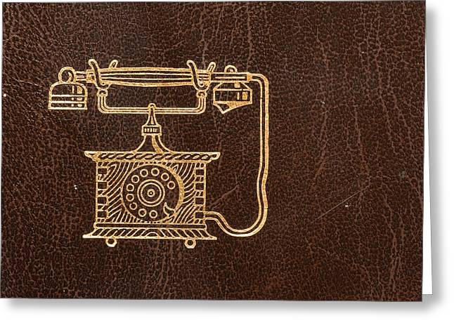Old Leather Telephone Book Greeting Card by Modern Art Prints