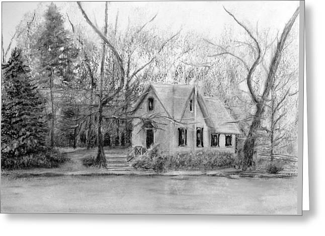 Old Library On Lake Afton - Winter Greeting Card