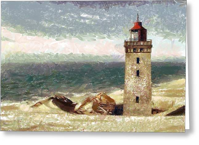 Greeting Card featuring the painting Old Lighthouse by Georgi Dimitrov