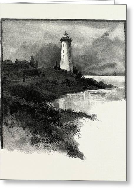 Old Lighthouse, Prescott, Canada Greeting Card by Canadian School