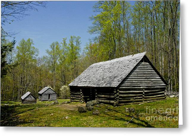 Old  Log Barn Greeting Card by Paul W Faust -  Impressions of Light