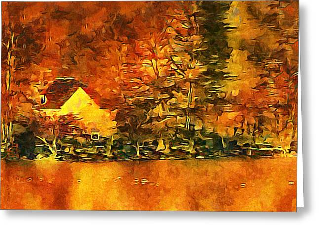 Old Log Cabin Greeting Card by Roman Solar