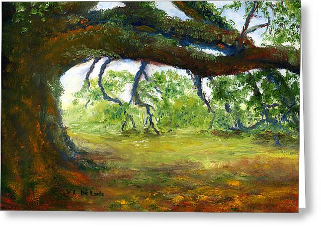Greeting Card featuring the painting Old Louisiana Plantation Oak Tree by Lenora  De Lude