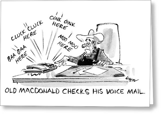 Old Macdonald Checks His Voice Mail: Greeting Card