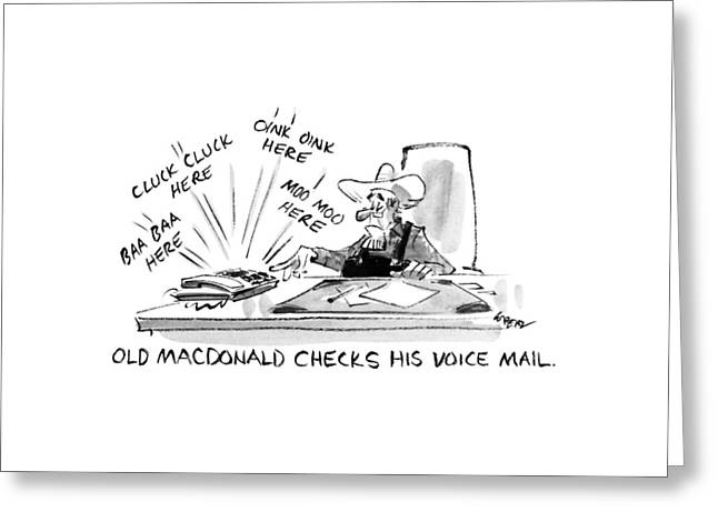 Old Macdonald Checks His Voice Mail: Greeting Card by Lee Lorenz
