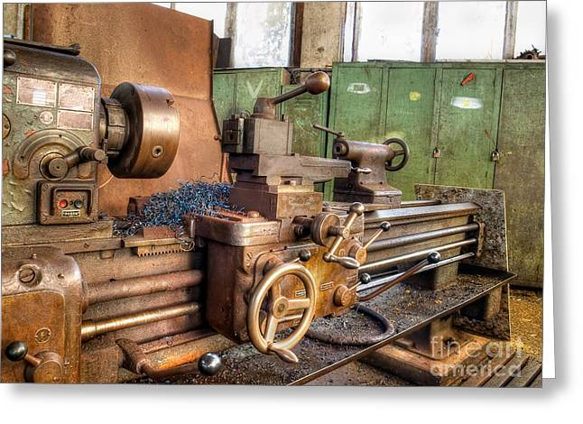 Old Machinery Greeting Card by Sinisa Botas