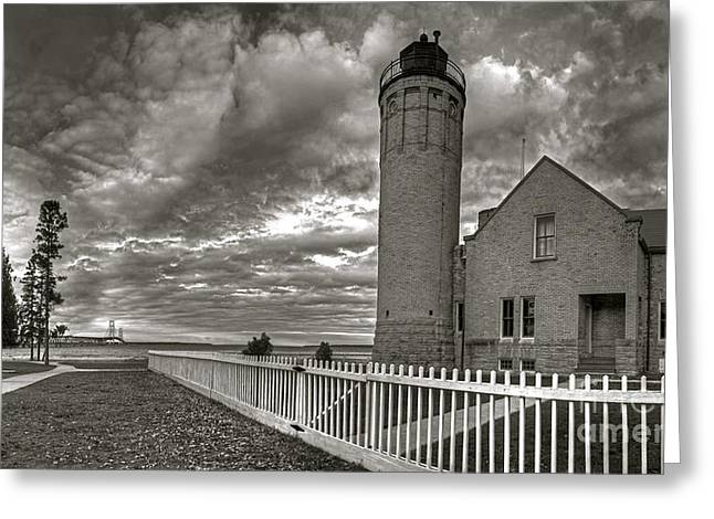 Old Mackinac Lighthouse In Black And White Greeting Card by Twenty Two North Photography