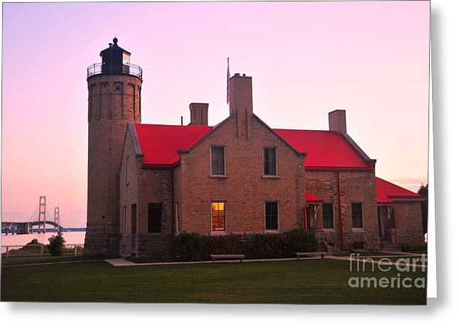 Greeting Card featuring the photograph Old Mackinac Point Lighthouse by Terri Gostola