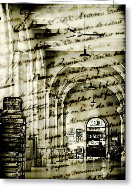 Old Mahon Town Market Greeting Card by Pedro Cardona