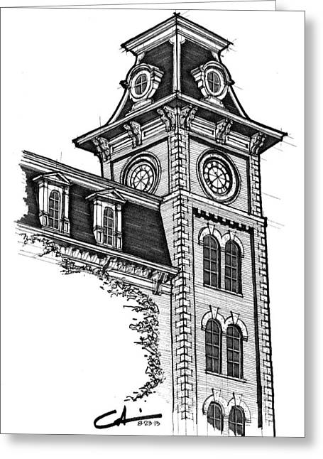 Greeting Card featuring the drawing Old Main by Calvin Durham