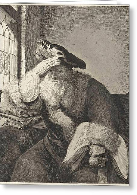 Old Man At The Window, Diederik Jan Singendonck Greeting Card by Diederik Jan Singendonck And Rembrandt Harmensz. Van Rijn