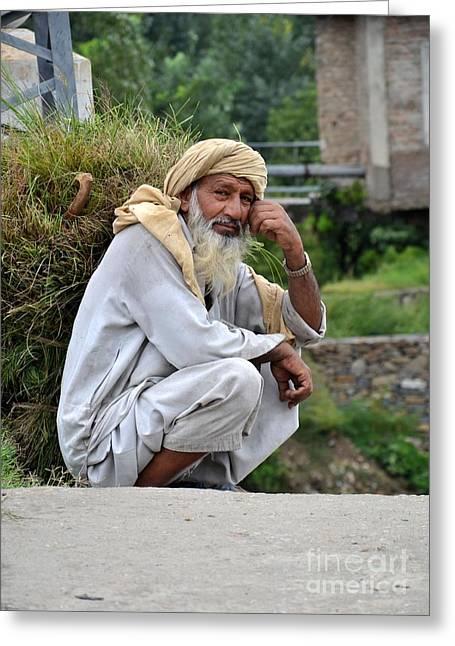 Old Man Carrying Fodder Swat Valley Kpk Pakistan Greeting Card