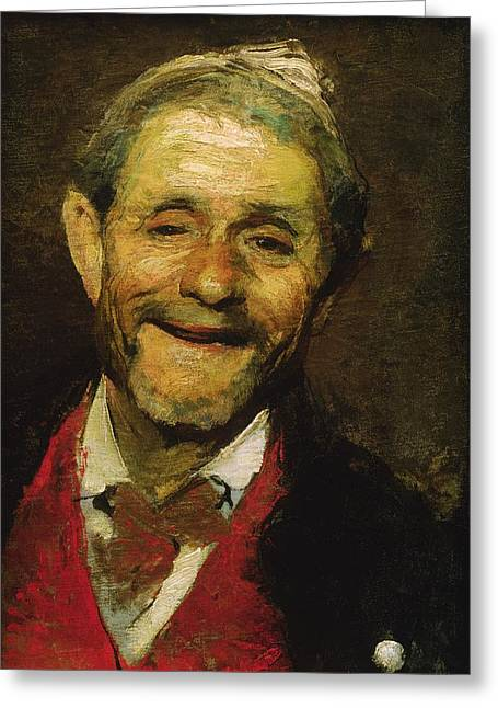 Old Man Laughing, 1881 Oil On Canvas Greeting Card by A Beridze