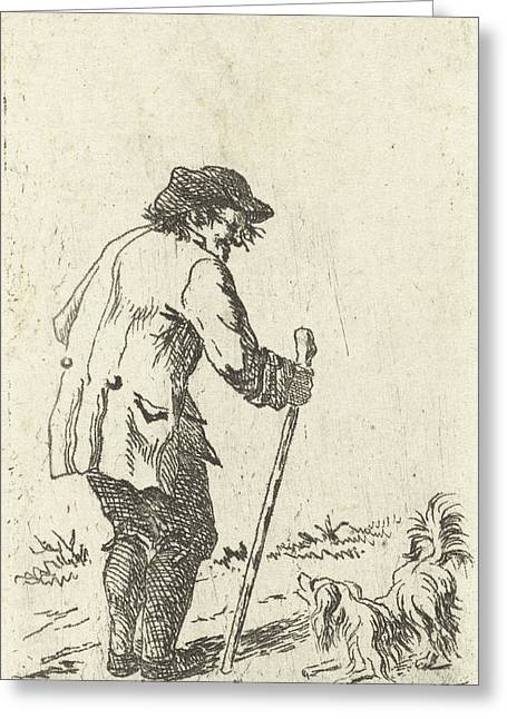 Old Man Leaning On A Stick, Johannes Bisschop Greeting Card