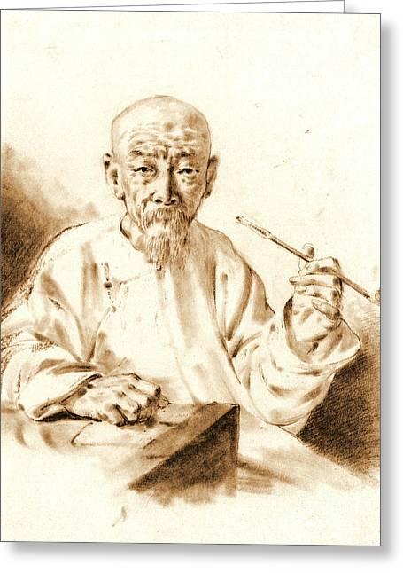 Old Man Smoking 1860 Greeting Card by Padre Art
