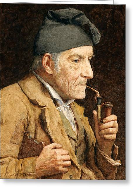 Old Man Smoking His Pipe Greeting Card