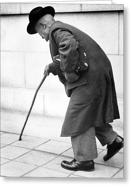 Old Man Walking With A Cane Greeting Card by Underwood Archives