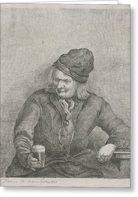 Old Man With Glass And Pipe In Hand, Eberhard Cornelis Rahms Greeting Card