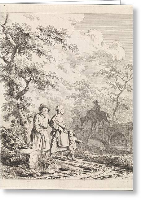 Old Man, Woman And Child On A Forest Path Greeting Card by Quint Lox
