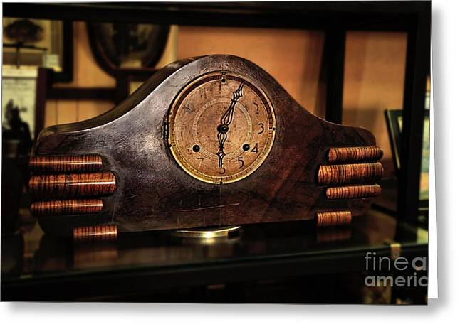Old Mantelpiece Clock Greeting Card by Kaye Menner