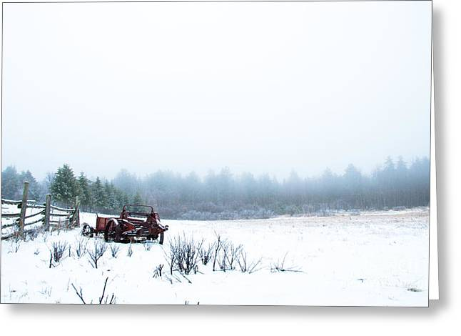 Old Manure Spreader Greeting Card by Cheryl Baxter