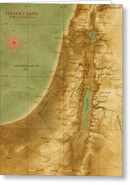Old Map Of The Holy Land Greeting Card by Carol and Mike Werner