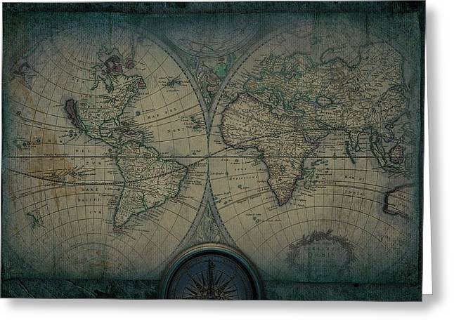 Old Map Of The World  Blueprint Greeting Card by Eti Reid