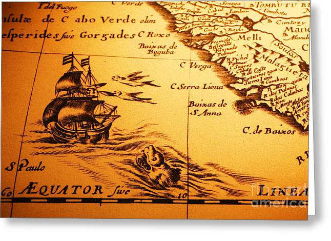 Old Map Sea Monster Sailing Ship Equator Africa Greeting Card by Colin and Linda McKie