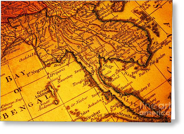 Old Map Thailand Siam Malaya Asia Burma Thailand Cambodia Laos Greeting Card by Colin and Linda McKie