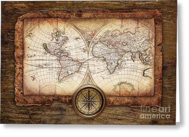 Old Maps Greeting Card by Christo Grudev