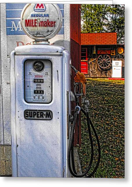 Old Marathon Gas Pump Greeting Card