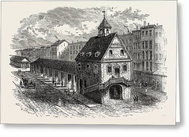 Old Market House At Philadelphia, United States Of America Greeting Card by American School