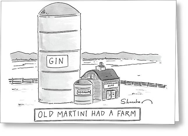 Old Martini Had A Farm Greeting Card