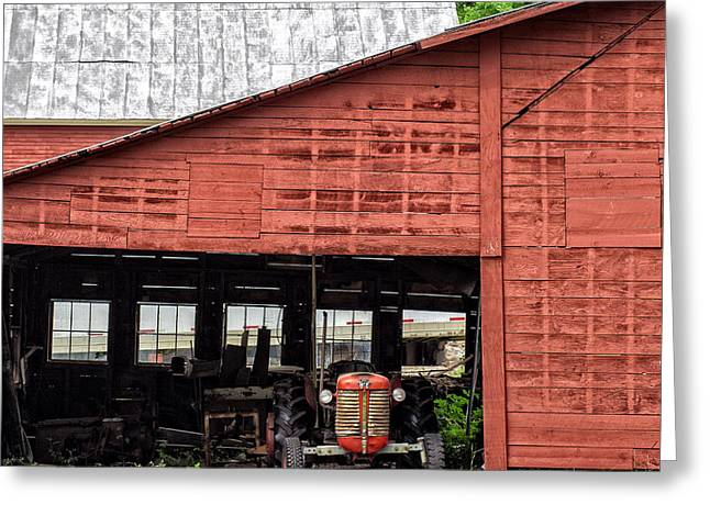 Old Massey Ferguson Red Tractor In Barn Greeting Card by Edward Fielding
