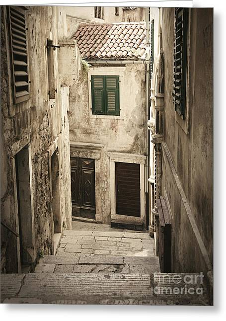Old Medieval Alley Greeting Card by Mythja  Photography