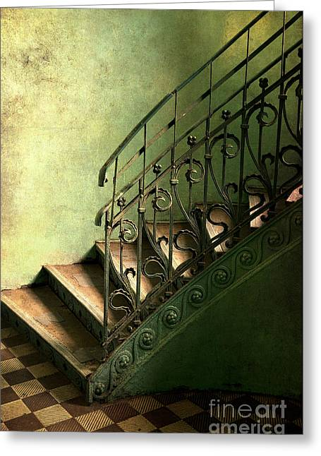 Old Metal Stairs With Decorated Handrail Greeting Card