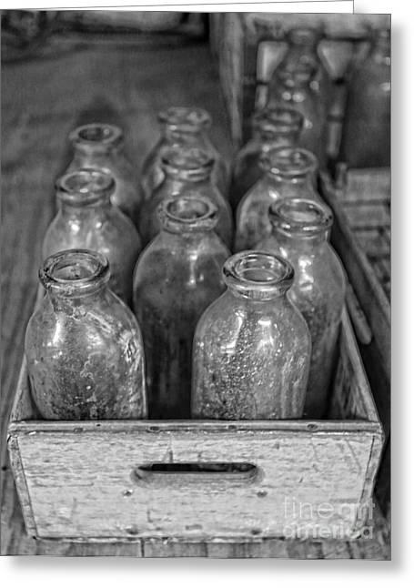 Old Milk Bottles Greeting Card