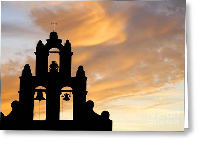 Old Mission Bells Against A Sunset Sky Greeting Card
