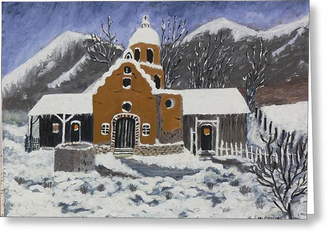 Greeting Card featuring the painting Old Mission In Winter by Mary M Collins