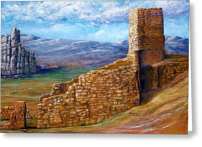 Greeting Card featuring the painting Old Mission Landscape New Mexico by Lenora  De Lude