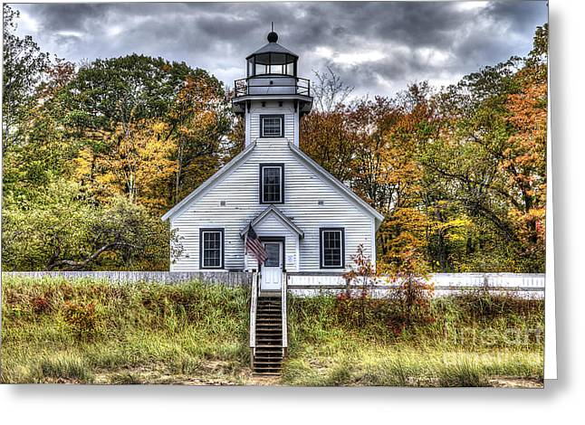 Old Mission Lighthouse In Fall Greeting Card