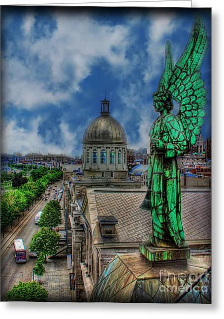Old Montreal Angel Greeting Card by Lee Dos Santos