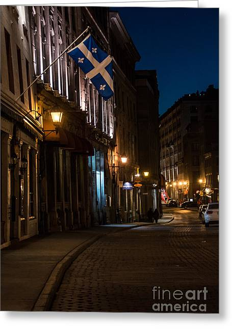 Old Montreal At Night Greeting Card by Cheryl Baxter