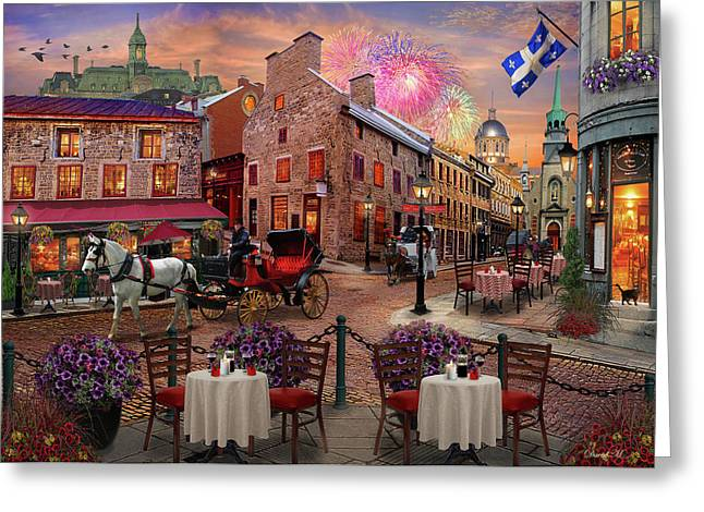 Greeting Card featuring the drawing Old Montreal by David M ( Maclean )
