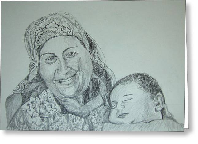 Old Mother With New Baby Greeting Card by Esther Newman-Cohen