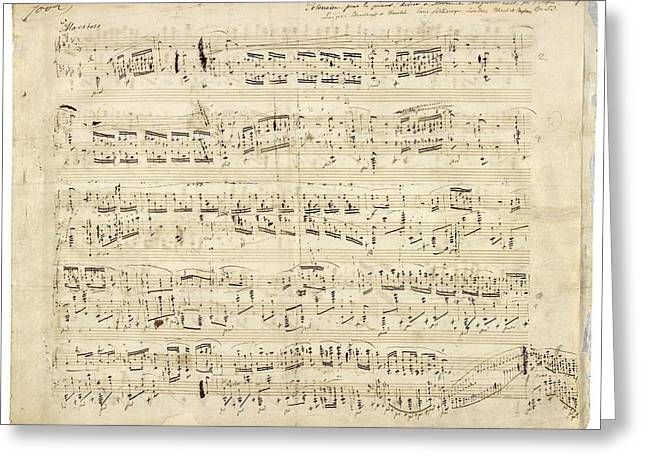 Old Music Notes - Chopin Music Sheet Greeting Card by Tilen Hrovatic